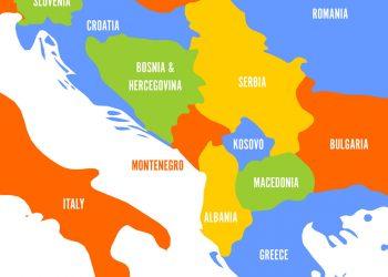 Political map of Balkans - States of Balkan Peninsula. Colorful vector illustration.