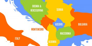 Political map of Balkans - States of Balkan Peninsula. Colorful vector illustration.